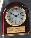 "Rosewood Domed Clock - 5"" corporate award, corporate crystal award, glass award, stunning glass award, art glass award, quality award, impressive award"