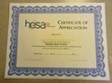 HOSA Certificates - Appreciation