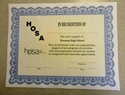 HOSA Certificates - In Recogintion Of