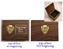 National Park Walnut Box National park gift box, walnut box. National park arrowhead logo, national park arrowhead emblem, brass national park arrowhead emblem, national park logo