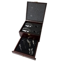 5 pc. Rosewood Finish Wine Set with 2 Glasses